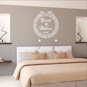 Personalized Names Wall Decal - Elegant Vintage Style Frame G Decal 22525