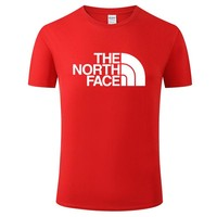 The North face New fashion letter print couple top t-shirt Red