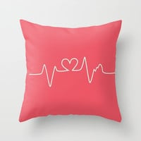 heartbeat; Throw Pillow by Pink Berry Patterns