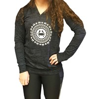 Crab Burnout Hoodie with celestial crabby design-Black