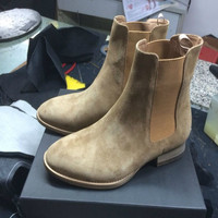 2017 season2 new chelsea boots sharp toe kanye west boots genuine leather 1:1 fishion life style euro and America  mid heel GD