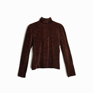 Vintage 90s Striped Velour Turtleneck Top in Espresso / Long Sleeve Velvet Top / Brown Turtleneck - women's small