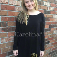 Monogrammed Piko Dress. Available in black, yellow and mint. Font and thread color of your choice