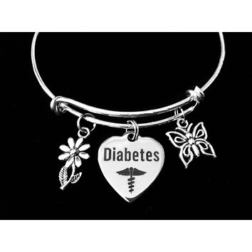 Diabetes Silver Expandable Charm Bracelet Butterfly and Daisy Adjustable Bangle Medical Alert Jewelry Gift