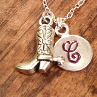 Cowboy Boot Initial Necklace