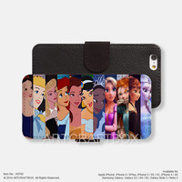 Princess Characters iPhone Samsung Galaxy leather wallet case cover 790