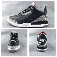 Nike Air Jordan Retro 3 OG Black Cement Black/Cement Grey/White-Fire Red Men Sneakers GS Women Sports Shoes