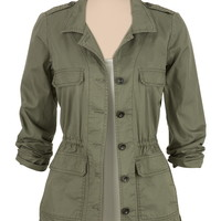 button front twill anorak jacket