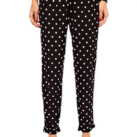 ROMWE Dots Print Pocketed Black Harem pant