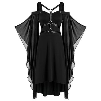 Batwing Sleeve Harness Insert Lace-up High Low Dress