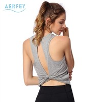 Aerfey 2018 Summer Women Backless Style Yoga Vest without Padded Gym Shirts Dance Vest Sports Clothes Top Tee