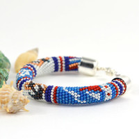 Marine adventure - Nautical Bracelet Beaded Bracelet  Bead Crochet  White Blue Red Multi-Colored Colorful Minimalist Beadwork Jewelry