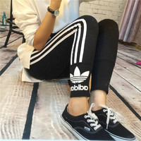 """Adidas"" Fashion Casual Clover Letter Print Stripe Leggings Sweatpants Tight Yoga Pants Trousers"