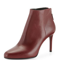 PRADA Leather Almond-Toe Ankle Boot, Burgundy