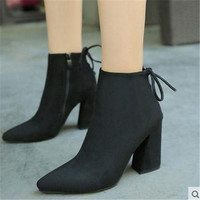 New Winter shoes short boots pointed thick high heel