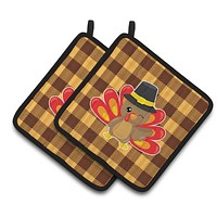 Thanksgiving Turkey Wink Pair of Pot Holders BB7114PTHD