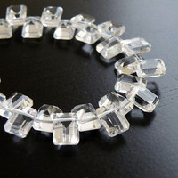 AAA Rock Crystal Quartz Gemstone Fancy Faceted Rectangle Step Cut Drop Briolette Top Drilled, Large 8mm 1/2 Strand