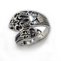 Sterling Silver Antiqued Style Ornate Spoon Ring(Sizes 6,7,8,9)