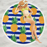 Pineapples And Stripe Pattern Terry Cloth Round Beach Towels Lightweight Version