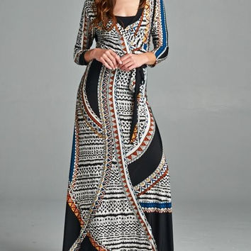 New Bohemian Aztec Moroccan Border Wrap Black Blue Waist Tie Long Maxi Boho Gypsy Hippe Dress sz S