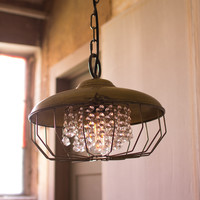 Antique Gold Hanging Hardware Pendant Lamp with Gems