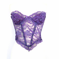 80's Sheer lace cropped bustier size - M
