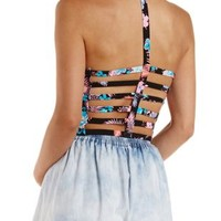 Black Combo Tropical Print Caged Back Crop Top by Charlotte Russe