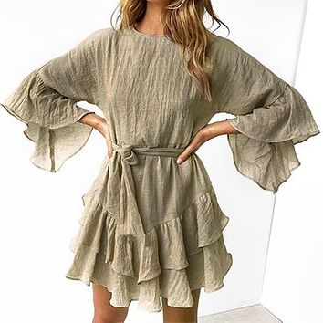 Women Autumn Winter Short Dress Female Fashion Solid Color Flare Sleeves Mini Dress Mujer Chic High Waist Vestidos