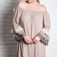 Multi Color Lace Bell Dress - Taupe - Curvy