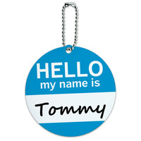 Tommy Hello My Name Is Round ID Card Luggage Tag