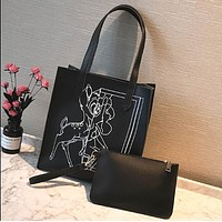 Givenchy Deer Print Single Shoulder Bag Large Capacity Hand Bag Zipper Purse Zero Wallet Two Piece