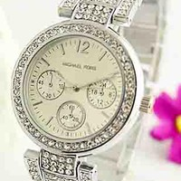 MK Michael Kors Men's and Women's Stylish Quartz Watches F-Fushida-8899 silver