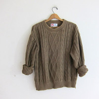 vintage cable knit sweater. crewneck sweater. chunky knit