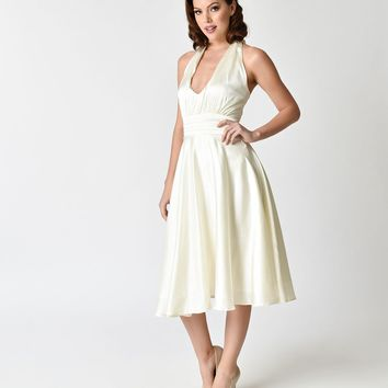 Unique Vintage 1950s Style Ivory Satin Halter Hyannis Swing Dress
