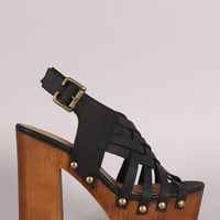 Qupid Woven Strappy Chunky Wooden Platform Heel