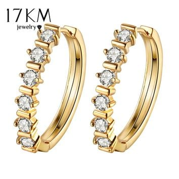 17KM Vintage Stainless Steel Punk Gold Color Crystal Earrings for Women Simple Jewelry Stud Earring Brincos Statement Bijoux