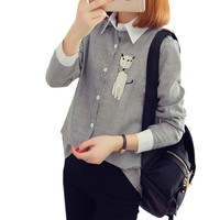 Embroidery Cat Women Blouses Striped Shirt Tops