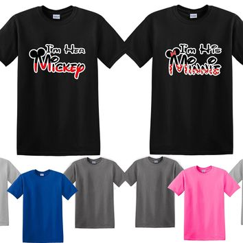 Her Mickey His Minnie Couple Matching Love Set Men T-shirt