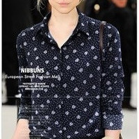Floral Pattern Print Long-Sleeve Button Collared Shirt