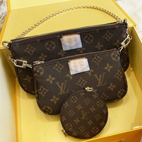 LV Louis Vuitton New fashion monogram leather high quality shoulder wallet women three piece suit