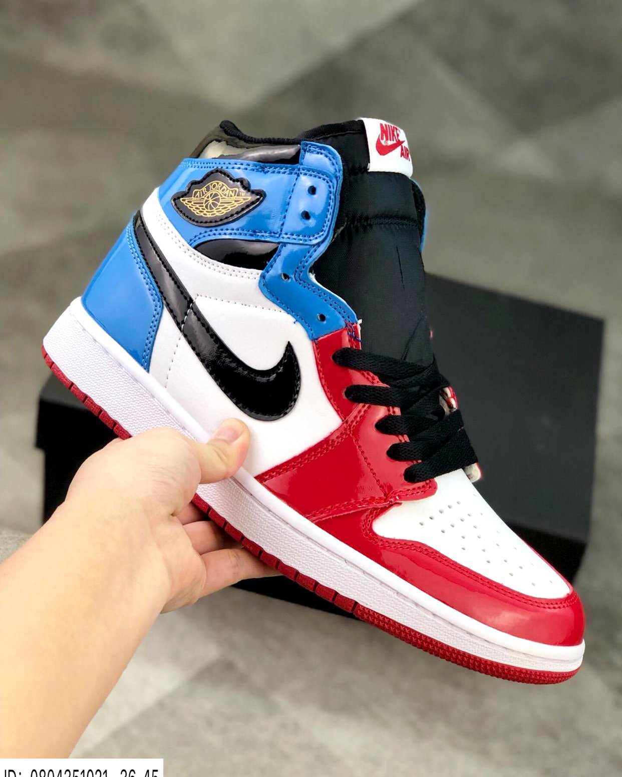Image of Nike Air Jordan 1 Fearless patent leather high basketball shoes