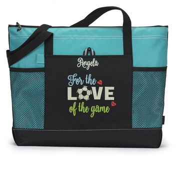 For the Love of the Soccer Game Personalized Zippered Tote Bag