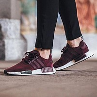 Adidas NMD R1 Suede Maroon S75231 Boost Sport Running Shoes Classic Casual Shoes Sneakers