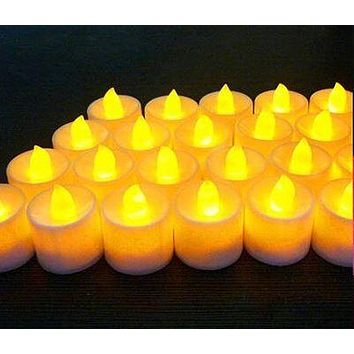 Flameless Candles Amber Decorative Led Electronic Candle Light (Yellow)