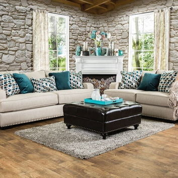 SM1242 2 pc arklow collection beige fabric upholstered sofa and love seat set with nail head trim accents