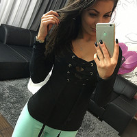 Black Lace-Up Long Sleeve Blouse
