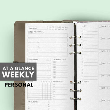 AT A GLANCE WEEKLY Planner, Filofax Personal insert Printable, Filofax inserts, Filofax Personal Planner, Printable Filofax refill