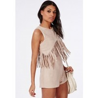 Missguided - Suedette Fringed Front Romper Nude