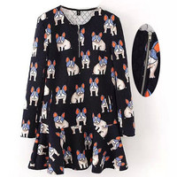 Women's Fashion Dogs Print Long Sleeve Dress One Piece Dress [4918967684]