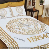 Versace Bedding Set Bedroom Duvet Cover Sheet Pillowcases Queen Satin White Gold